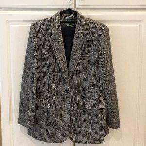 Ralph Lauren Black & Gray Pure Wool Blazer